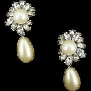 Vintage Kenneth Lane Faux Pearl and Rhinestone Earrings