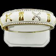 Vintage White Enameled Hinged Bangle Bracelet