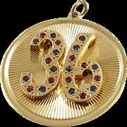 Large Vintage 14K Henry Dankner Jeweled 36 Charm or Pendant