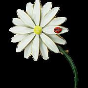 Vintage Sandor Daisy with Ladybug Pin