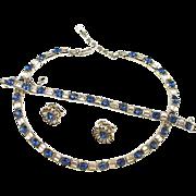 Vintage Signed Trifari Faux Diamond and Sapphire Parure