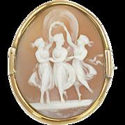 SALE Antique Victorian Three Graces Cameo Brooch