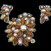 Vintage Topaz Art Glass Brooch & Earrings Set