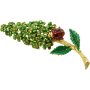 Unsigned Green Floral with Ladybug Pin