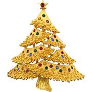Vintage Jonette Jewelry Co. (J.J.) Christmas Tree Pin Book Piece