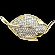 Vintage Marvella Rhinestone Leaf Brooch