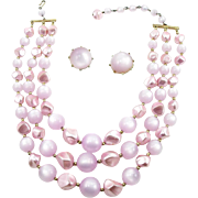 Vintage Coro Pale Lavender Moonglow Necklace and Earrings Set