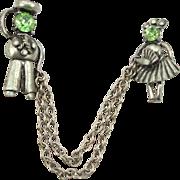 Vintage 1940's Sailor & Girlfriend Chatelaine Pins