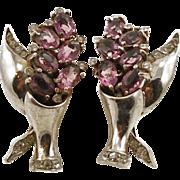 Vintage Sterling Faux Amethyst Flower Vase Earrings