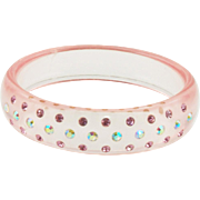 Vintage Pink Lucite Bangle Bracelet with Rhinestones