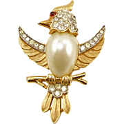 Vintage Signed Trifari Pearl Belly Bird Pin