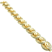 Vintage Signed Trifari Faux Pearl and Rhinestone Bracelet