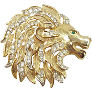Vintage Signed Craft Lion Head Pin
