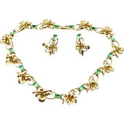 Vintage Faux Peridot Necklace and Earrings Demi Parure