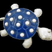 Vintage Signed Trifari Blue & White Enameled Turtle Pin
