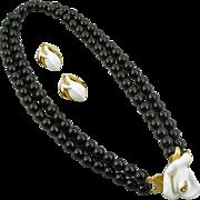 Vintage KJL for Avon Midnight Rose Necklace and Earrings