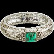 Vintage  J.J. White Filigree Hinged Bangle Bracelet