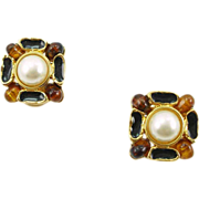 Vintage Signed Craft Faux Pearl and Amber Earrings