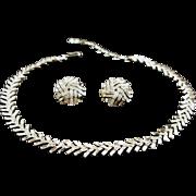Vintage Signed Trifari Crystal Rhinestone Demi Parure