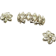 Vintage Signed Weiss Crystal Halo Bracelet and Earrings