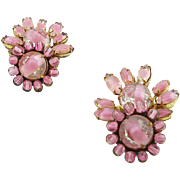 Vintage Miriam Haskell Pink Givre Glass Clip Earrings