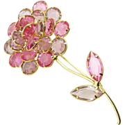 Unsigned Vintage Pink & Lilac Flower Pin