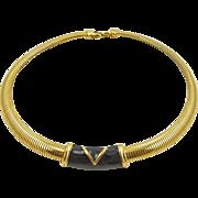 Vintage Monet Gold Tone Omega Necklace with Black Enameled Slide