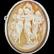 Vintage Coin Silver (800) Three Graces Cameo pin