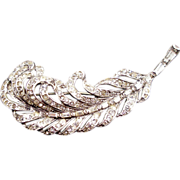 REDUCED Vintage Signed Trifari Sterling Rhinestone Feather Pin