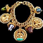 Vintage Costume Jewelry Oriental Theme Charm Bracelet