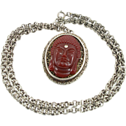 Vintage Vogue Jlry Ethnic Glass Cameo Necklace