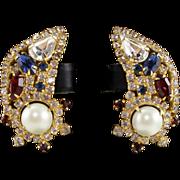 Vintage Hobe Rhinestone & Faux Pearl Clip Earrings