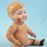Small Nippon Bisque Head Character Baby, Compo Body