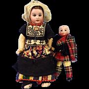 2 German Bisque Head Dutch & Scot Dolls, Original Clothes