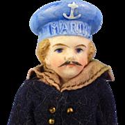 All-Bisque Sailor, Mustache, Molded Hat, Original Clothes