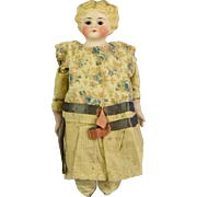 Molded Hair Bisque Head, Glass Eyes, Kid Body, Old Dress