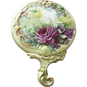 SALE Antique American Belleek Porcelain Hand Mirror With Hand Painted Roses