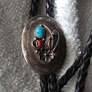 SALE Vintage Native American Sterling Silver Bolo Tie With Turquoise and Coral, Signed E. Bahe