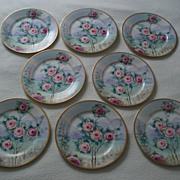 SALE Beautiful Set of Eight Large Antique Ahrenfeldt Plates With Hand Painted Roses