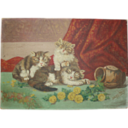 SOLD Antique Oil Painting of Kittens Cats, Signed Julius Dolly (Father of Dolly Sisters)