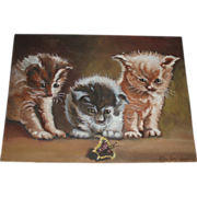 SALE Vintage Kittens Oil Painting, Signed