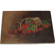 SOLD Antique Fruit Still Life Oil Painting of Strawberries, Signed