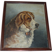 SALE Antique Dog Oil Painting on Canvas