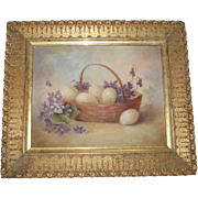 Charming Vintage Still Life Oil Painting of Eggs and Violets
