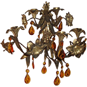 SALE Antique Elaborate Brass Floral Wall Sconce With Amber Crystals