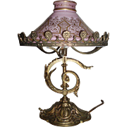 SALE Magnificent Art Nouveau Bronze Table Lamp With Original Glass Shade