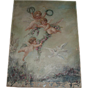 SALE Heavenly Antique Cherubs Oil Painting With Garlands of Pink Roses and Doves