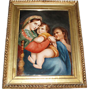 Circa 1800's Antique French Limoges Oil Painting on Porcelain Plaque Madonna of the Chair ...