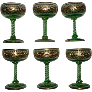 Antique Bohemian Set of 6 Moser Quality Gold Etched Enameled Green Glass Goblets