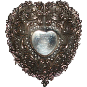 SALE Antique Gorham Sterling Silver Repousse Heart Footed Dish